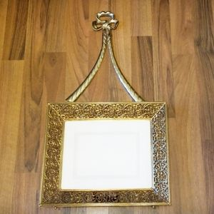 Intricate Scrolled Brass Tray Style Picture Frame